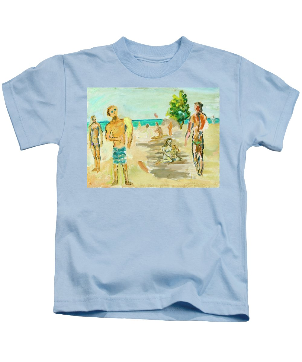 Beach Kids T-Shirt featuring the painting Beach Scence by Regina Gately