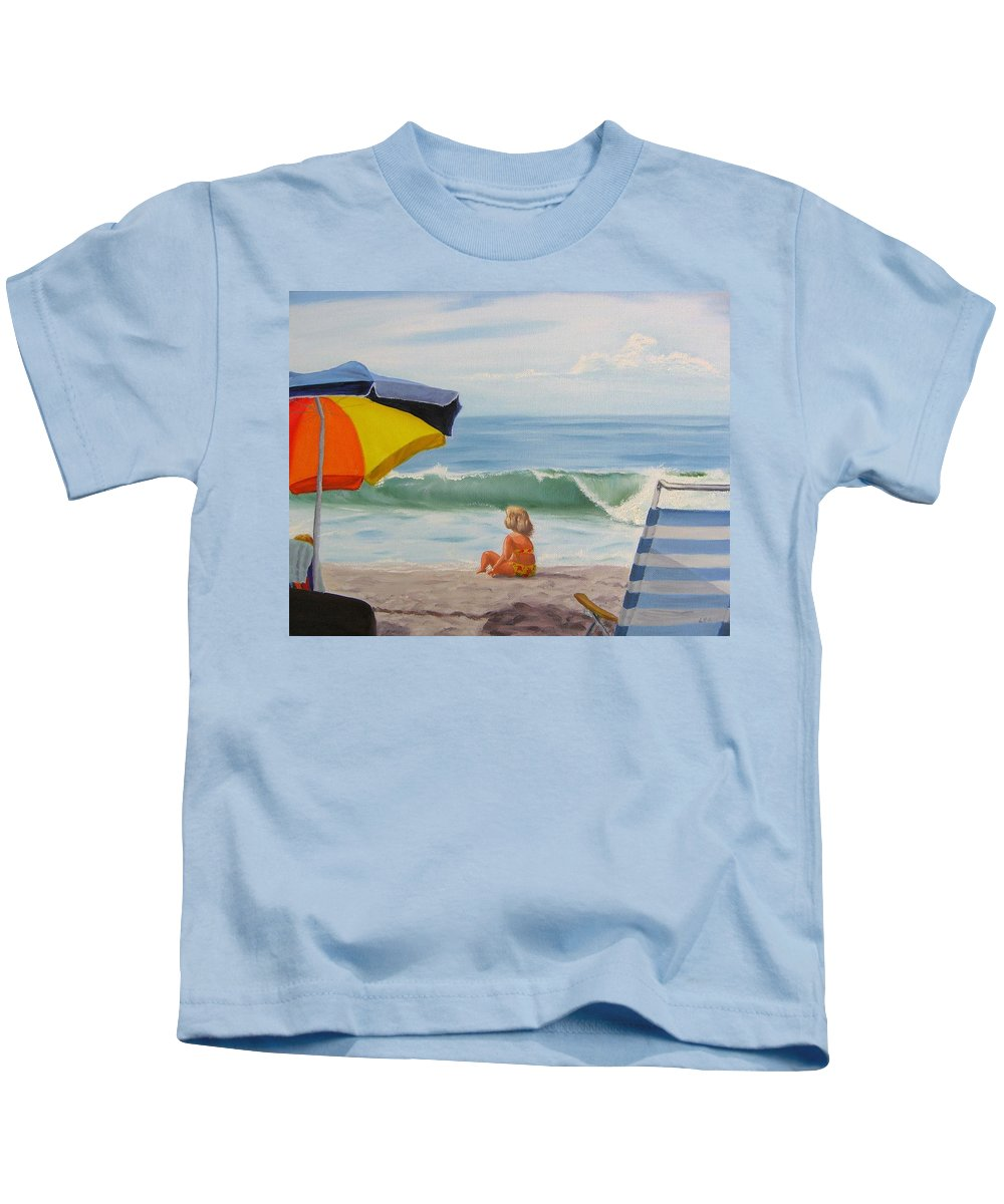 Seascape Kids T-Shirt featuring the painting Beach Scene - Childhood by Lea Novak