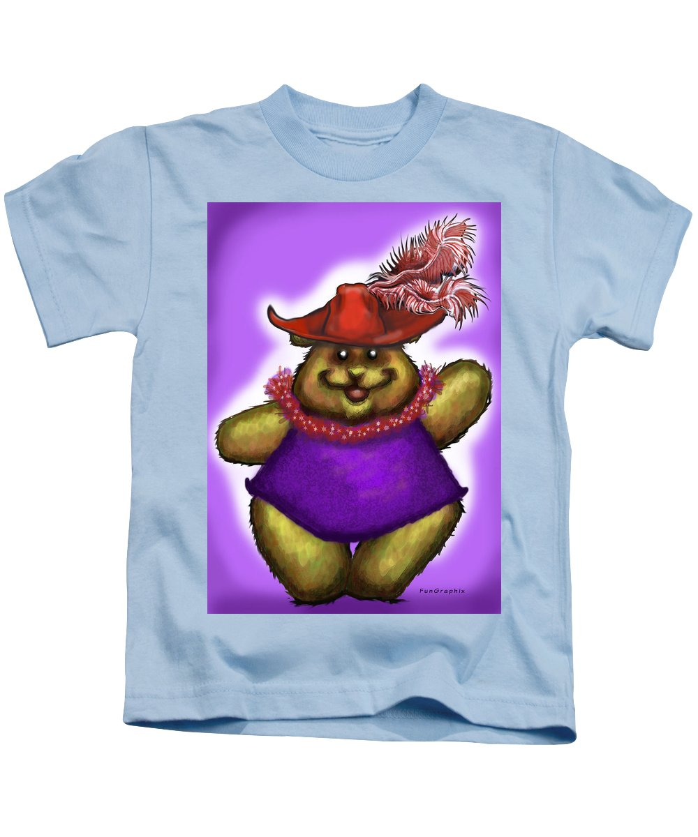 Red Hat Kids T-Shirt featuring the greeting card Bear In Red Hat by Kevin Middleton