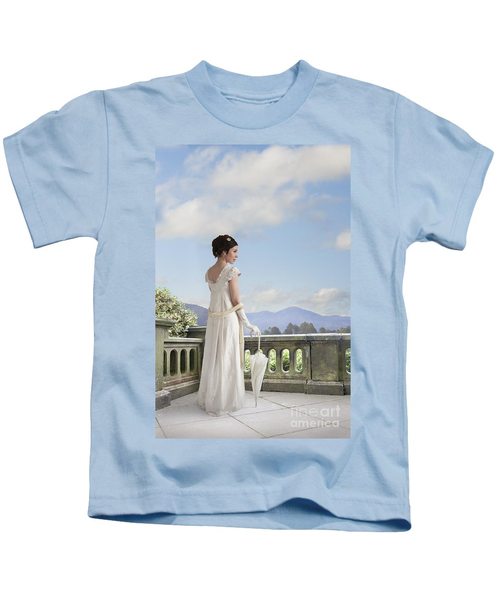 Regency Kids T-Shirt featuring the photograph Beautiful Regency Woman Admiring The View From The Terrace by Lee Avison