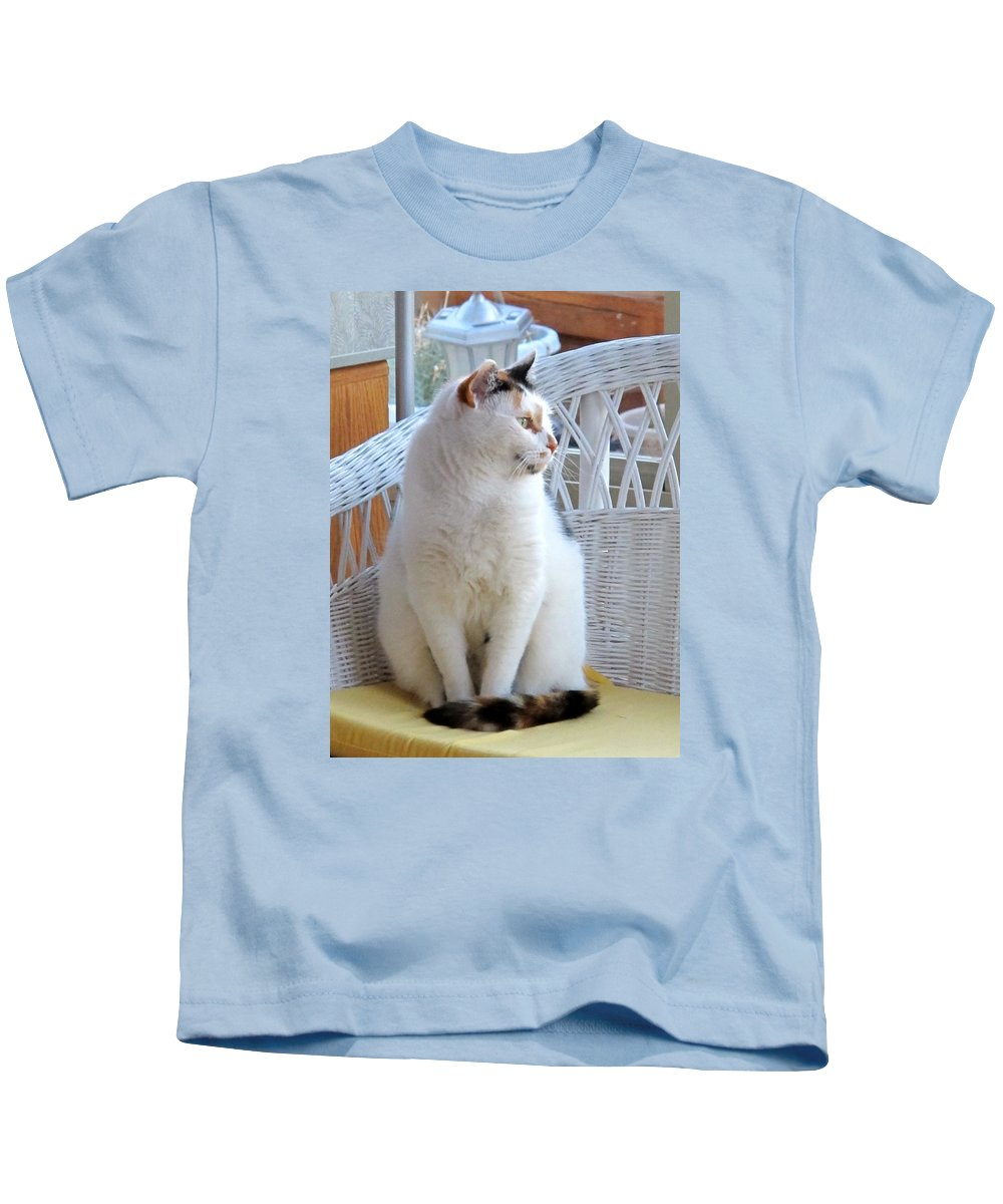 Calico Cat Kids T-Shirt featuring the photograph Beauty In White by Phyllis Kaltenbach