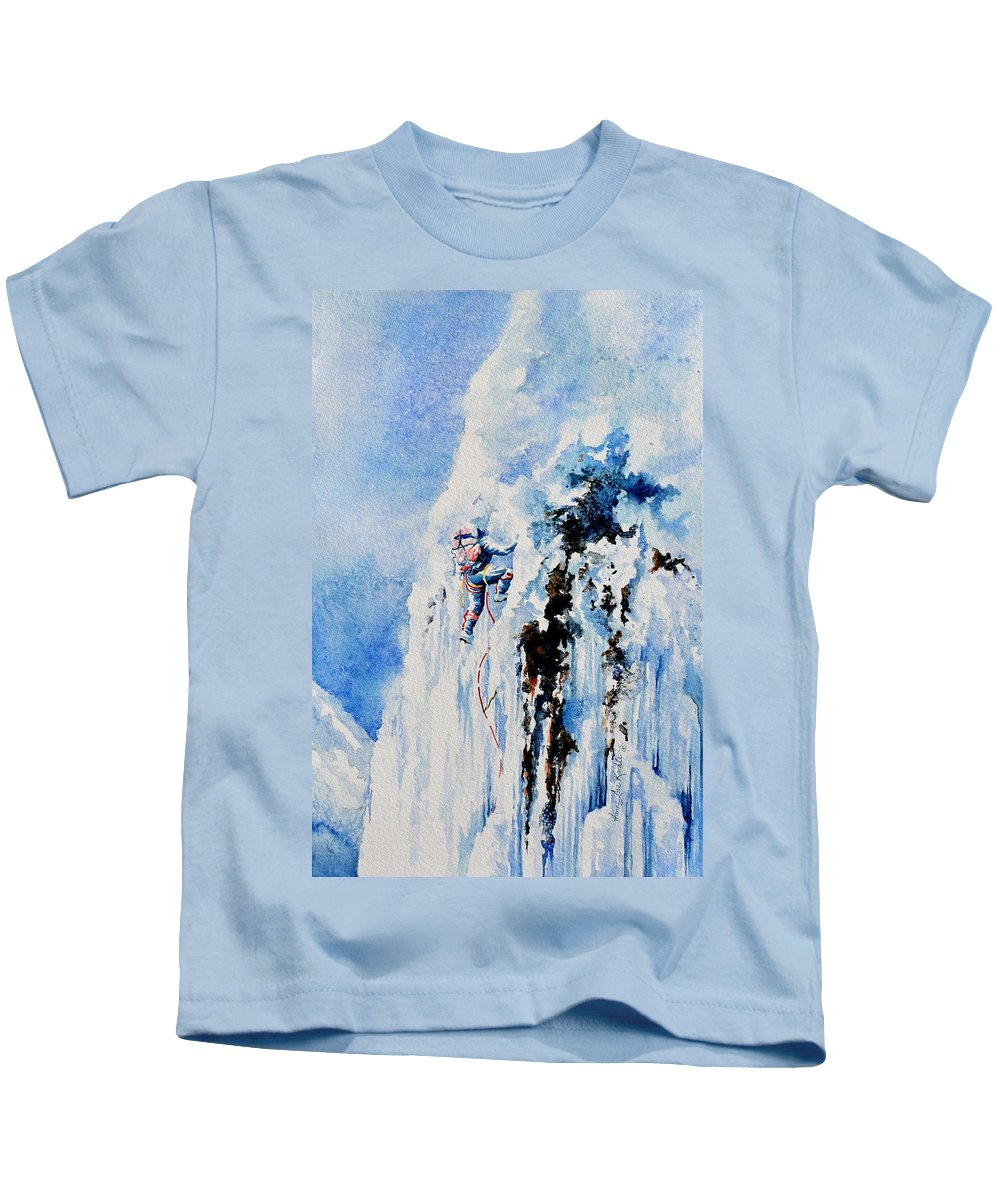 Ice Climbing Kids T-Shirt featuring the painting Because It's There by Hanne Lore Koehler