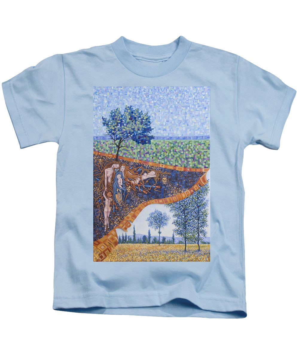 Canvas Kids T-Shirt featuring the painting Behind The Canvas by Judy Henninger