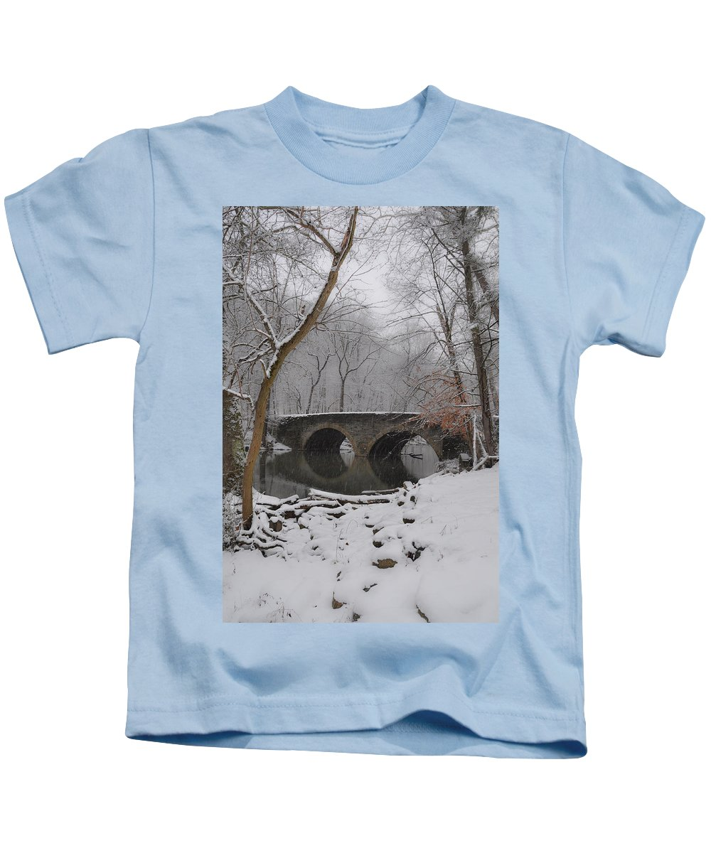 Bells Kids T-Shirt featuring the photograph Bells Mill Bridge On A Snowy Day by Bill Cannon