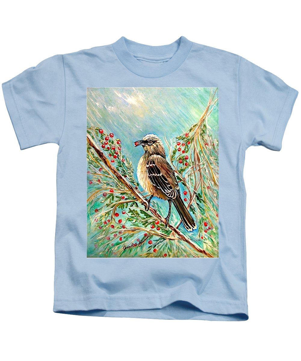 Mocking Bird Kids T-Shirt featuring the painting Berry Picking Time by Carol Allen Anfinsen
