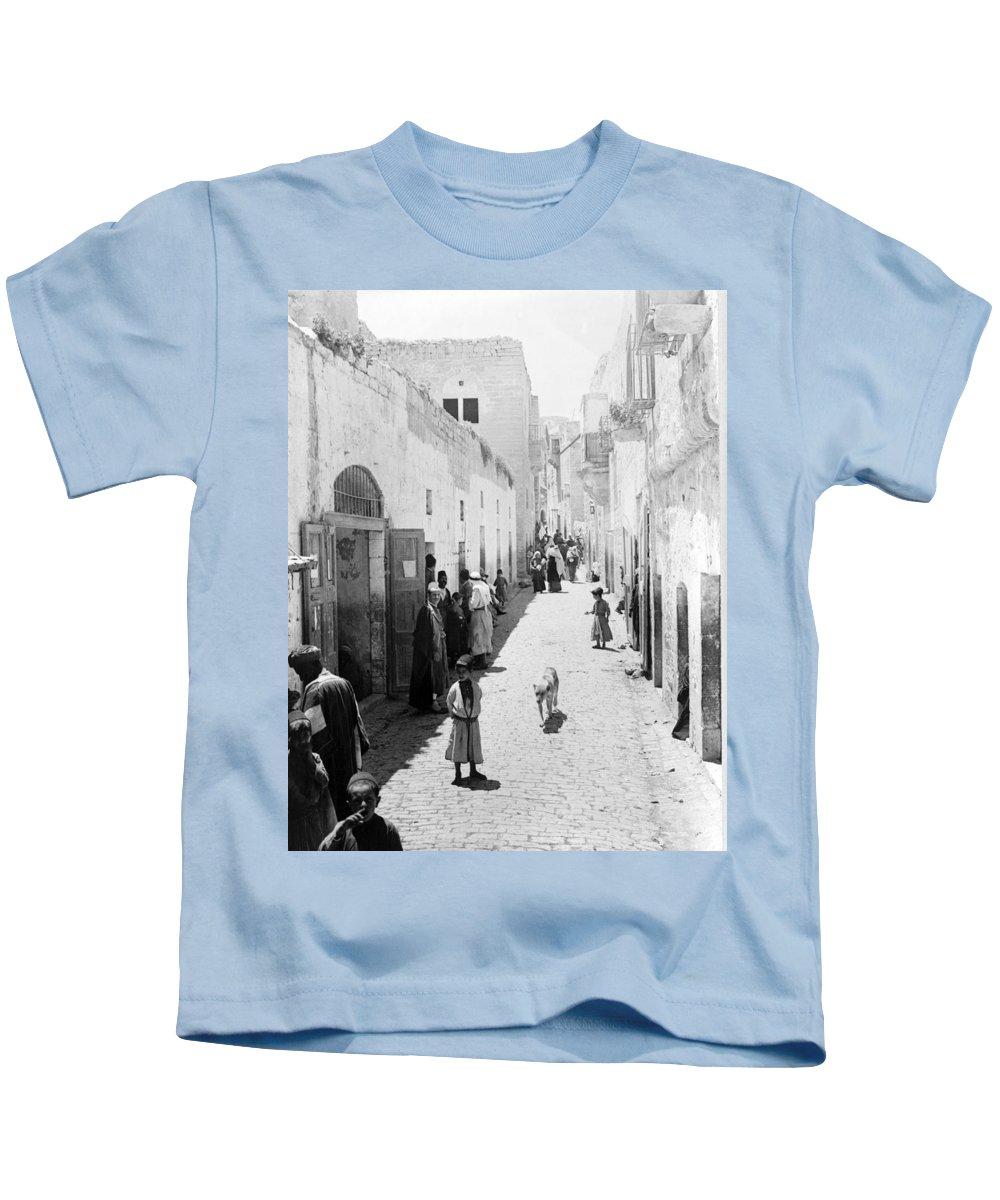 Bethlehem Kids T-Shirt featuring the photograph Bethlehem The Main Street 1800s by Munir Alawi