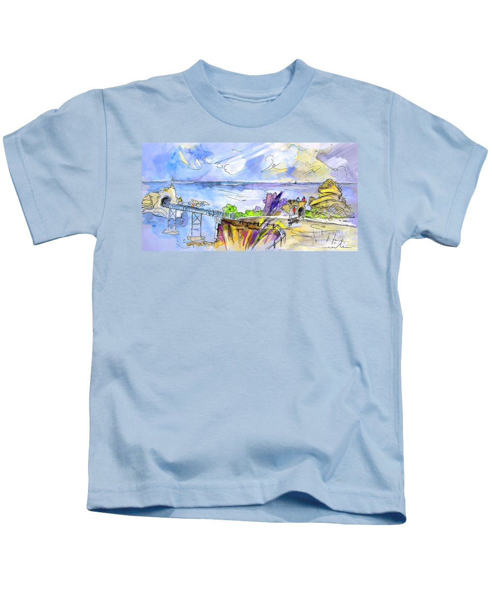 Biarritz Kids T-Shirt featuring the painting Biarritz 09 by Miki De Goodaboom