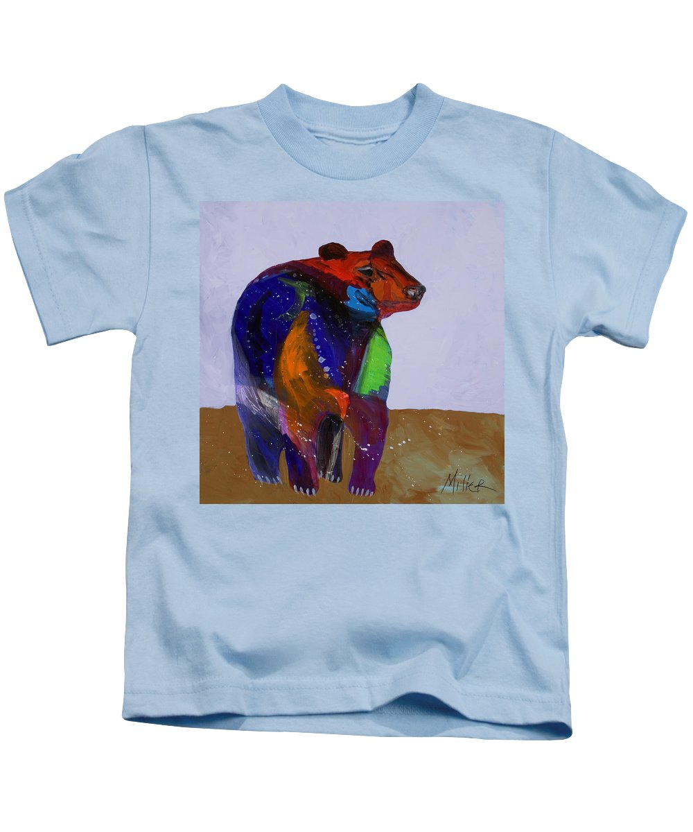 Black Bear Kids T-Shirt featuring the painting Big Bear by Tracy Miller