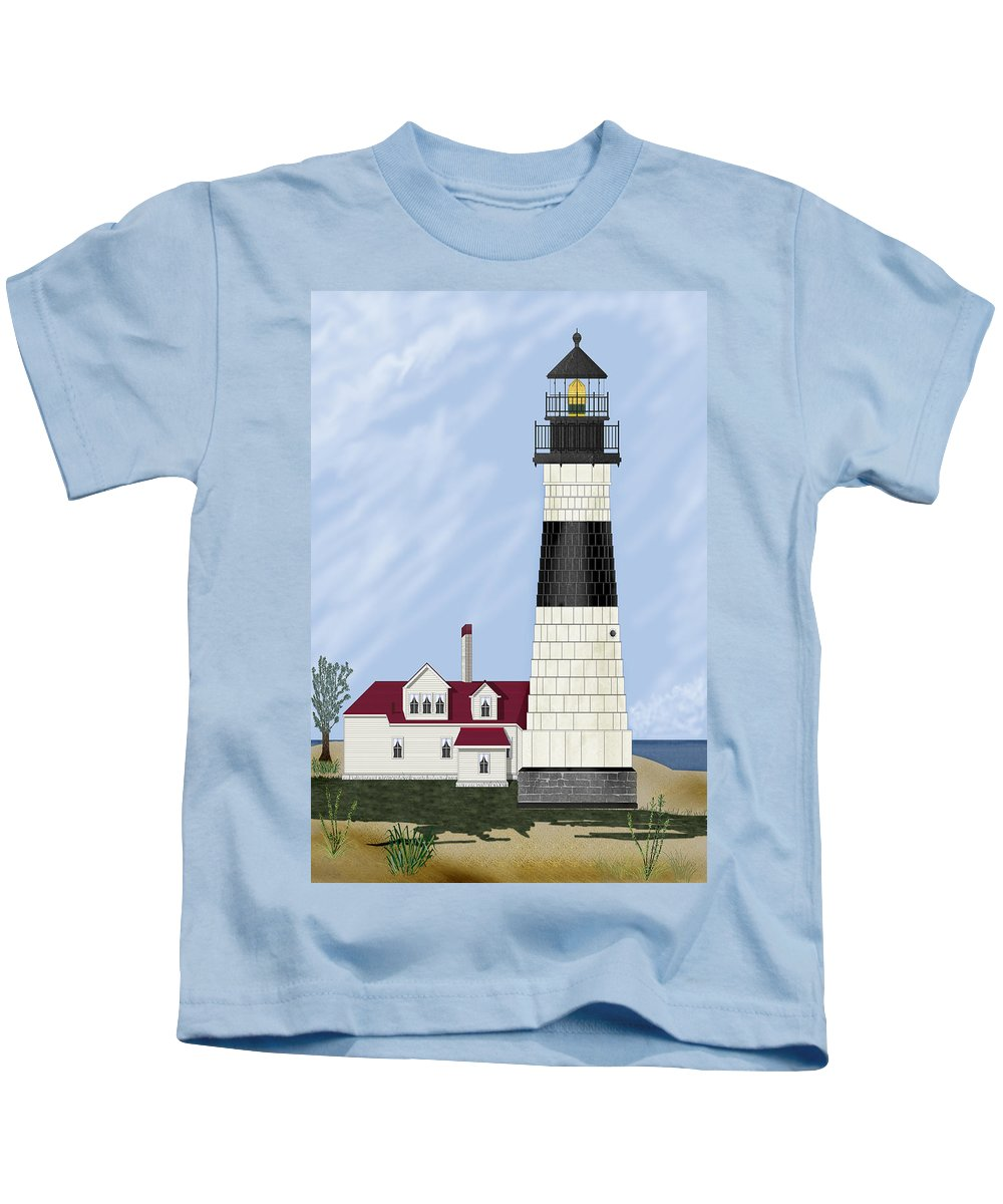 Big Sable Michigan Lighthouse Kids T-Shirt featuring the painting Big Sable Michigan by Anne Norskog