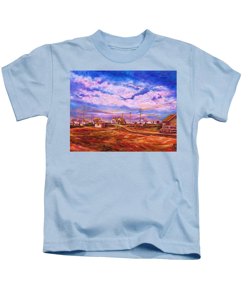 Cloudscapes Kids T-Shirt featuring the painting Big Sky Red Earth by Carole Spandau