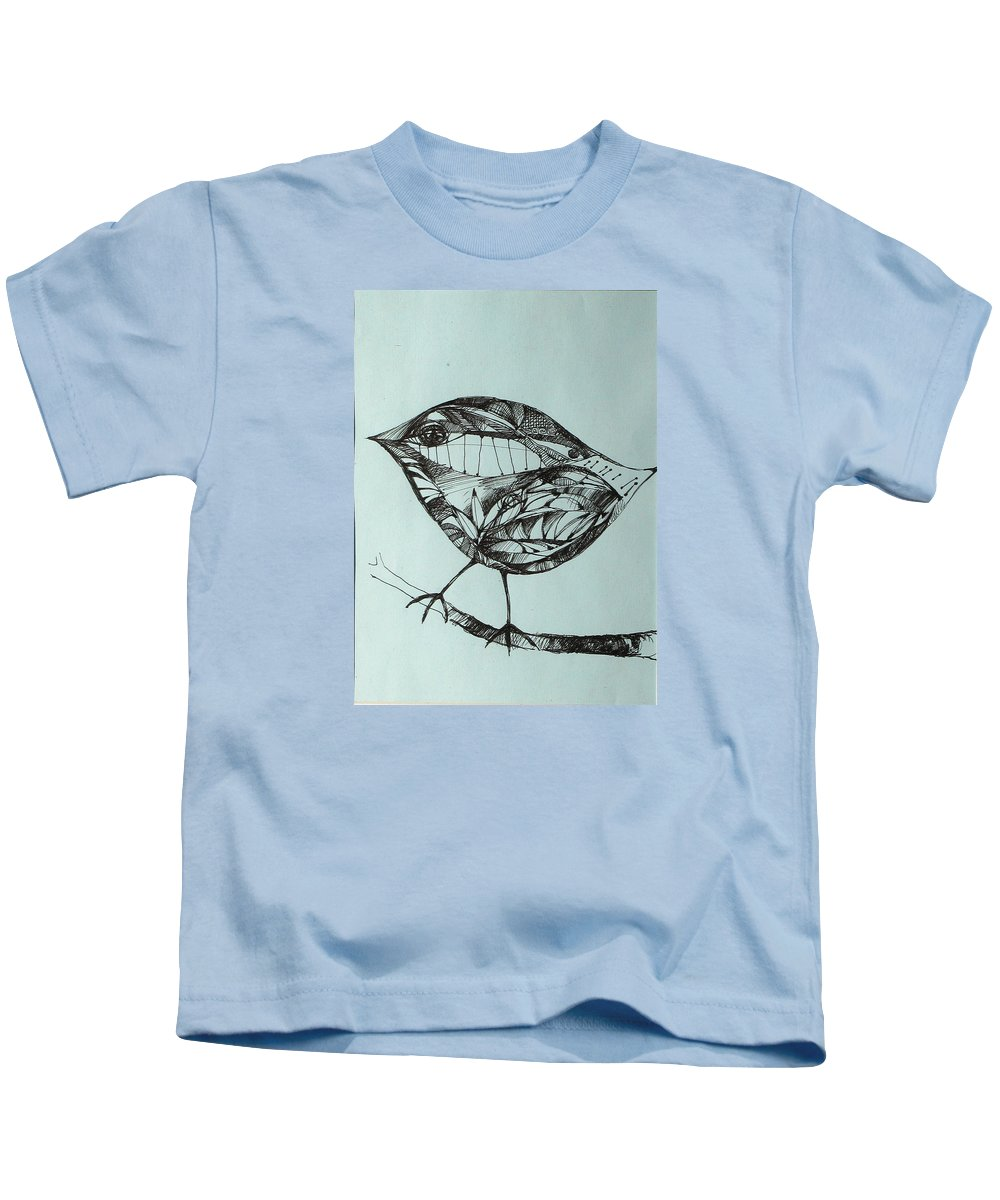 Artwork Kids T-Shirt featuring the drawing Bird On A Brench by Cristina Rettegi