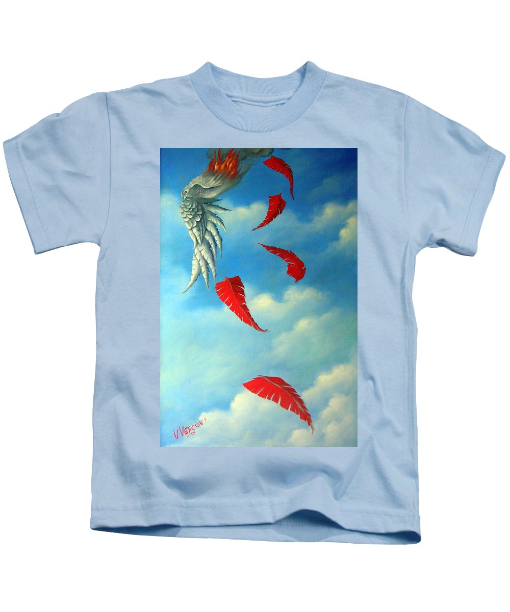 Surreal Kids T-Shirt featuring the painting Bird on Fire by Valerie Vescovi