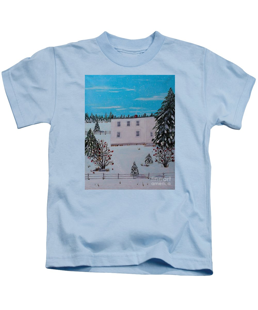 Barbara Griffin Kids T-Shirt featuring the painting Birds Berries And November Snow by Barbara Griffin