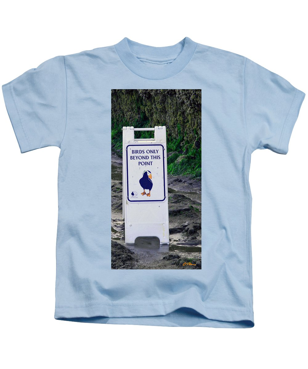 Sign Kids T-Shirt featuring the photograph Birds Only by Claudia O'Brien