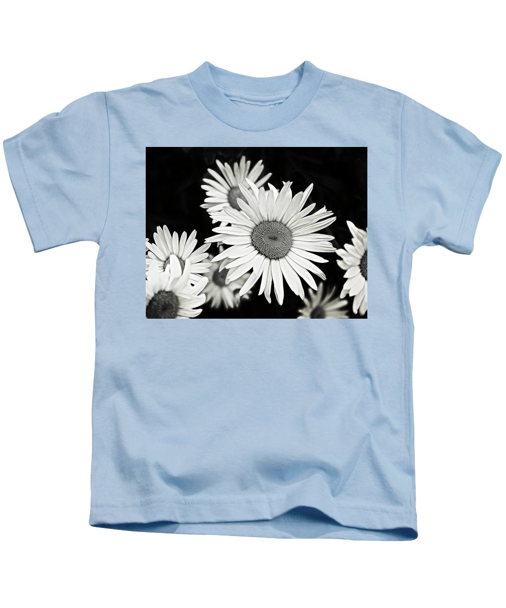 Flower Kids T-Shirt featuring the photograph Black And White Daisy 3 by Alisha Jurgens
