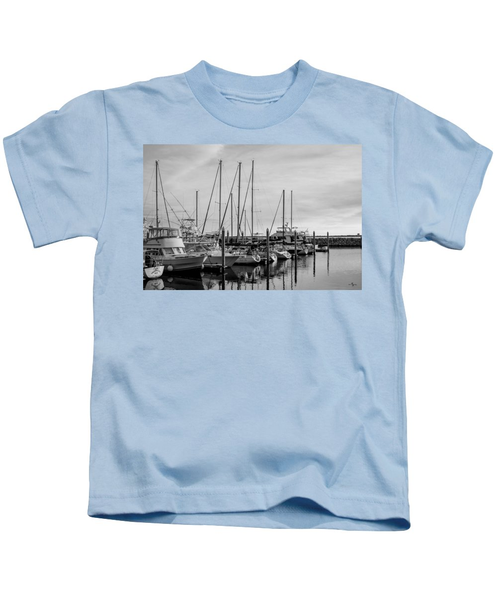 Reflections Kids T-Shirt featuring the photograph Black And White Reflections by Mechala Matthews