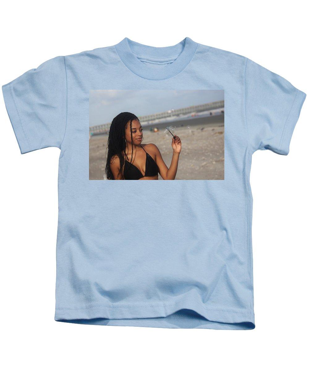 Ebony Kids T-Shirt featuring the photograph Black Bikinis 55 by Christopher White