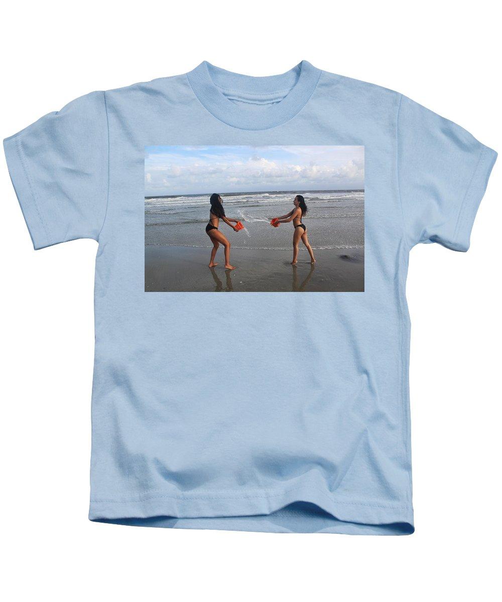 Ebony Kids T-Shirt featuring the photograph Black Bikinis 61 by Christopher White