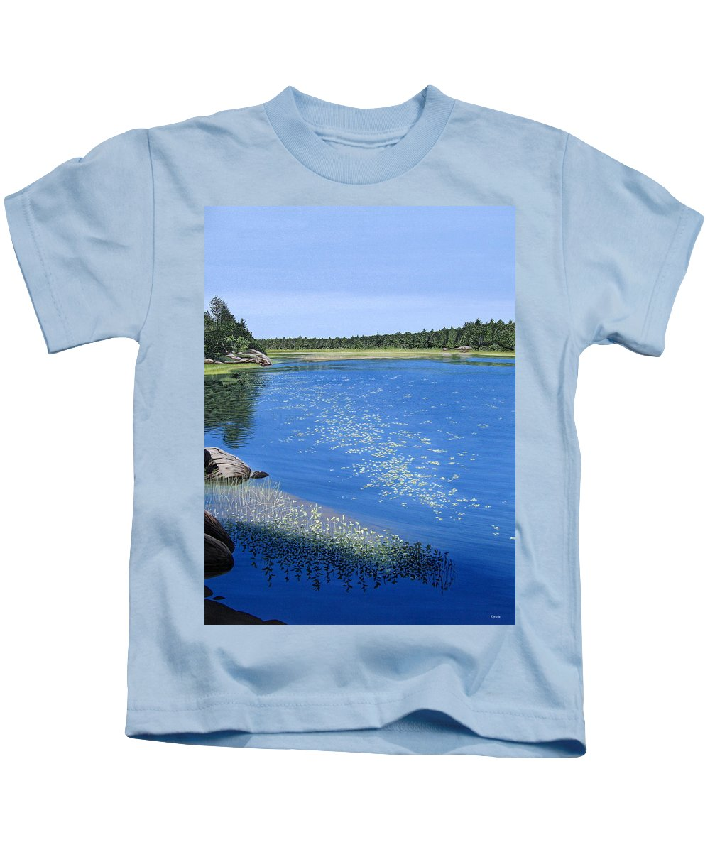 Landscapes Kids T-Shirt featuring the painting Blackstone Bog by Kenneth M Kirsch