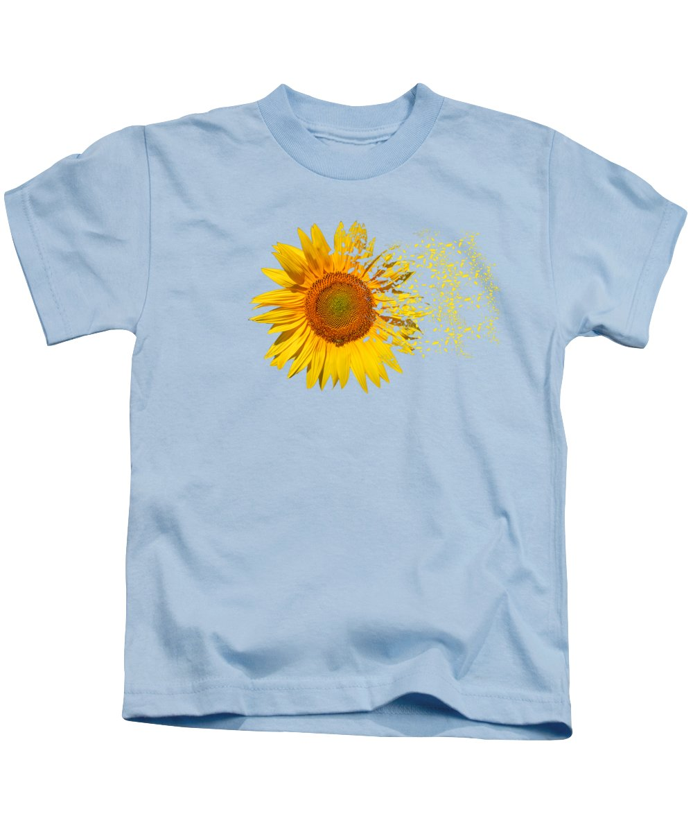 Sunflower Kids T-Shirt featuring the digital art Blowing In The Wind by Roy Pedersen