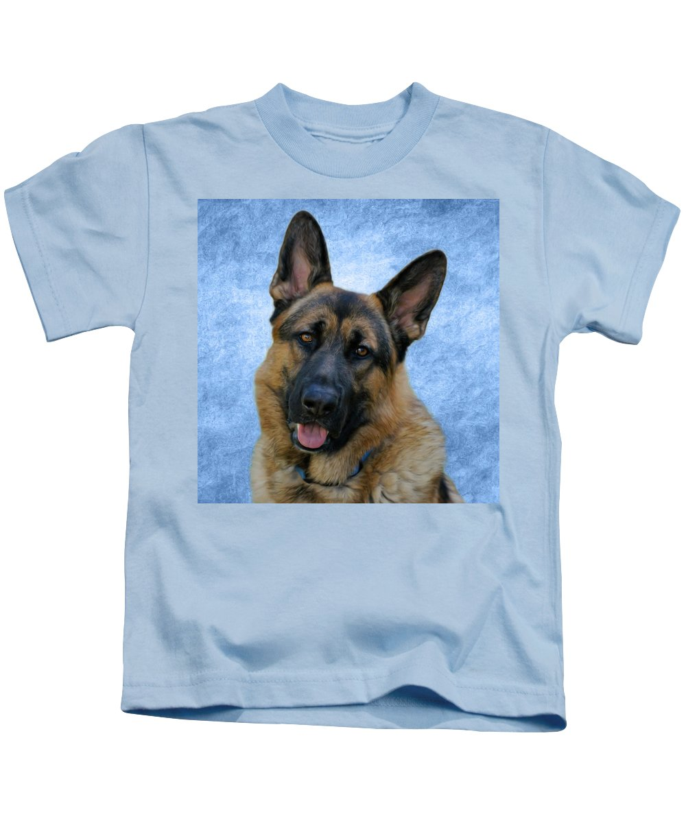German Shepherd Dog Kids T-Shirt featuring the photograph Blue Boy by Sandy Keeton