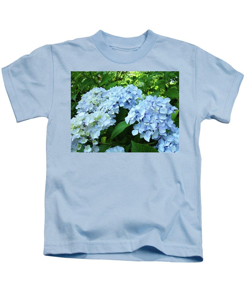 Nature Kids T-Shirt featuring the photograph Blue Floral Hydrangea Flower Summer Garden Basle Troutman by Baslee Troutman