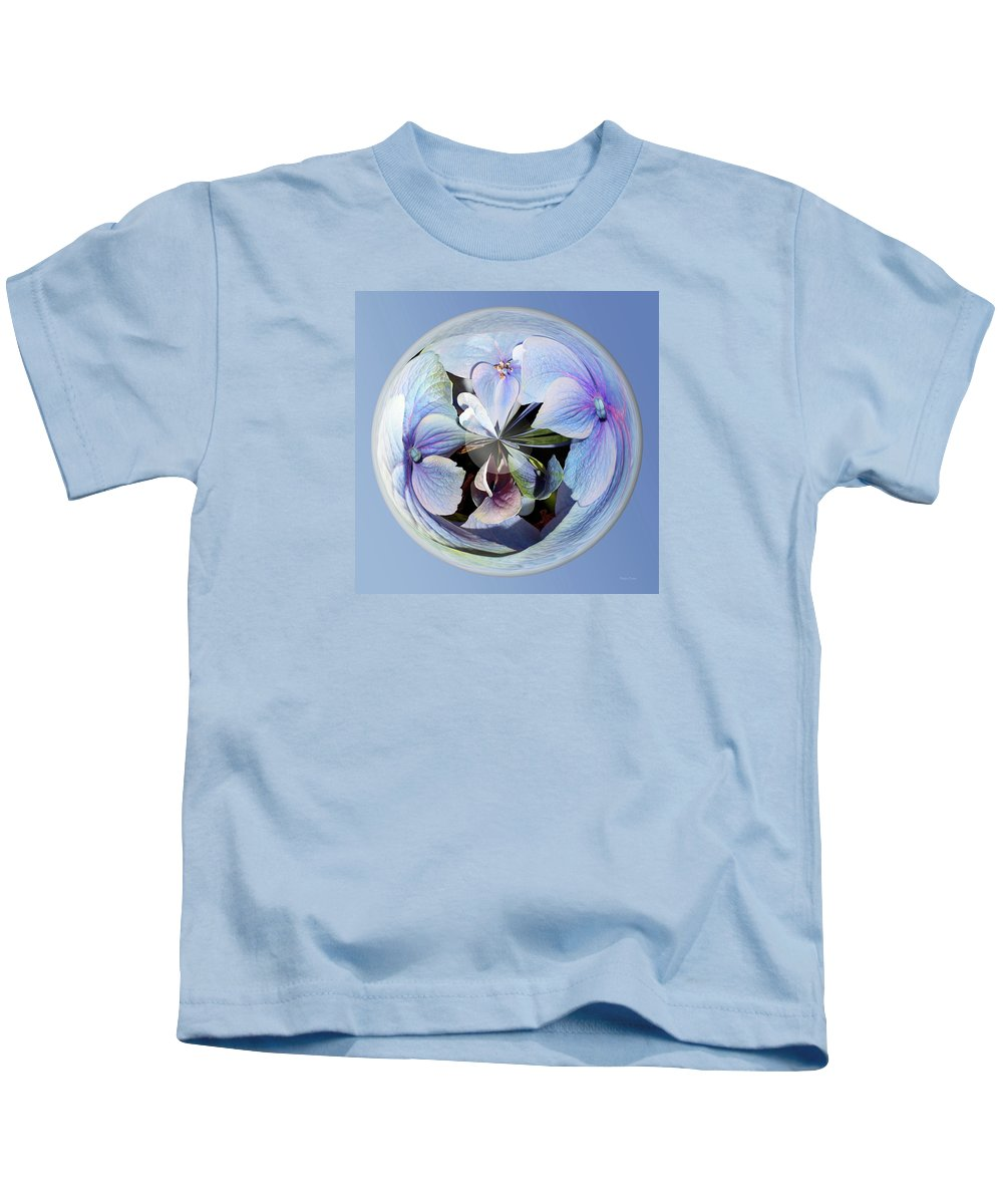 Flowers Kids T-Shirt featuring the photograph Blue Flower Orb by Phyllis Denton