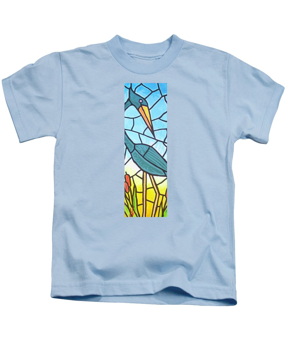 Heron Kids T-Shirt featuring the painting Blue Heron by Jim Harris