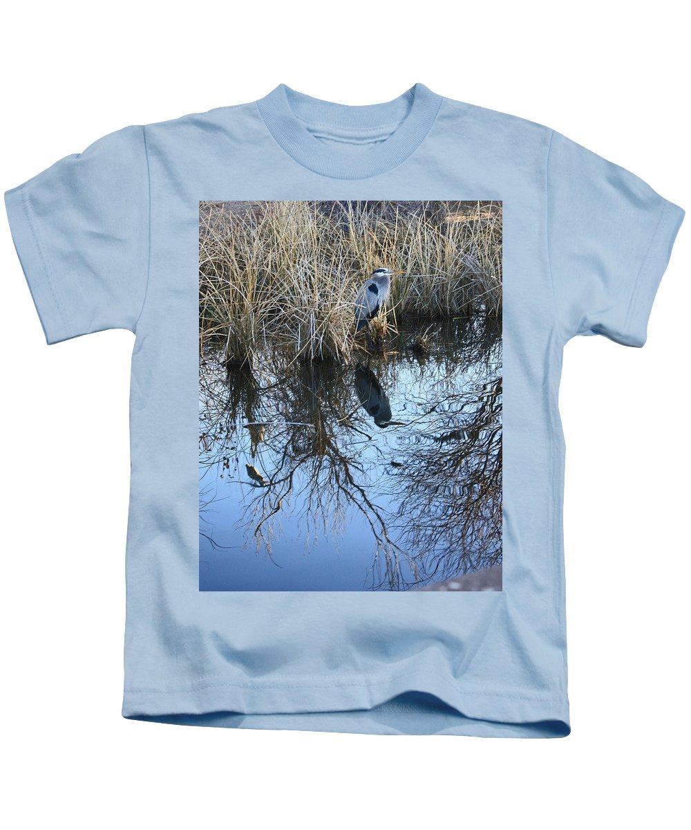 Water Ranch Kids T-Shirt featuring the photograph Blue Heron. by Robert Rodda