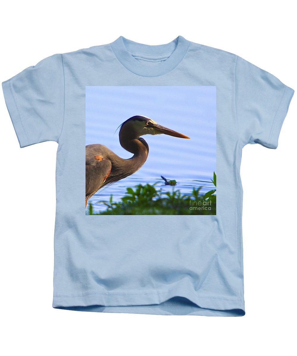 Tags:  Great Blue Heron Photographs Kids T-Shirt featuring the photograph Blue Heron-the Profile by Robert Pearson