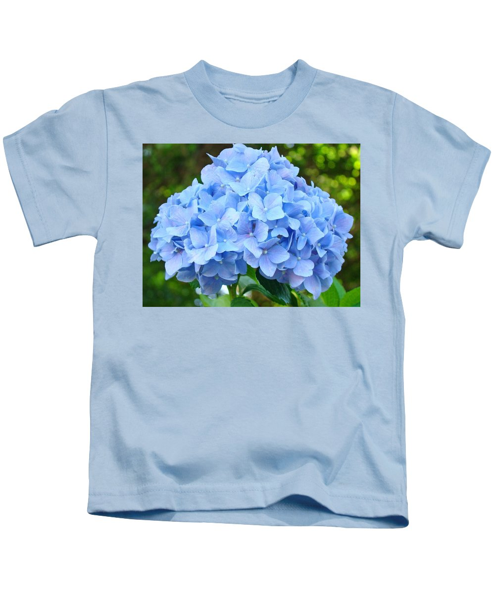 Blue Kids T-Shirt featuring the photograph Blue Hydrangea Floral Art Print Hydrangeas Flowers Baslee Troutman by Baslee Troutman