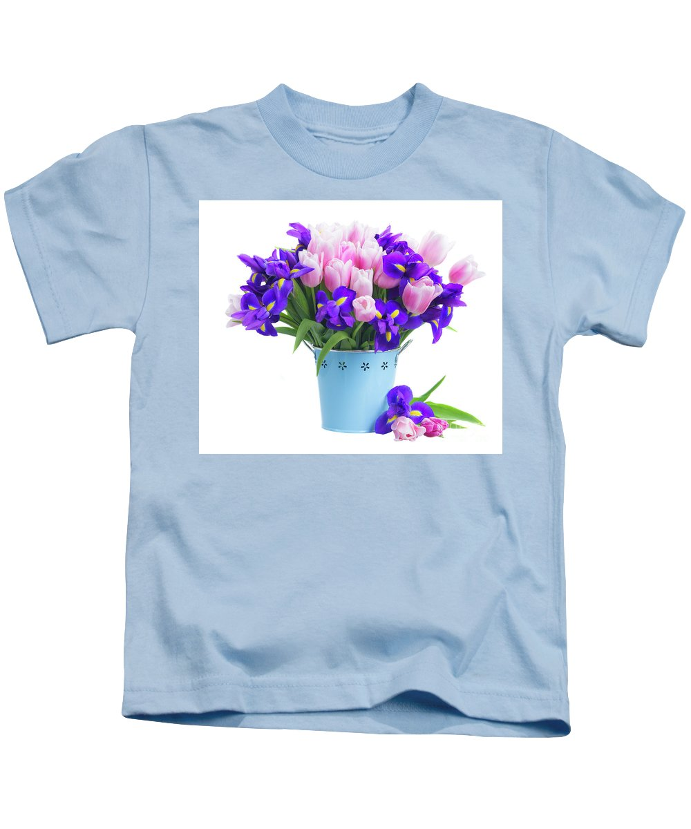 Iris Kids T-Shirt featuring the photograph Blue And Pink by Anastasy Yarmolovich