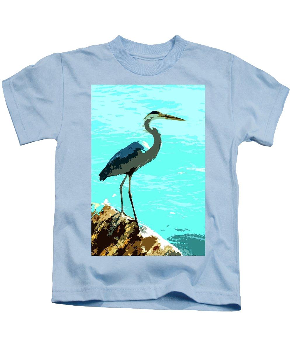 Great Blue Heron Kids T-Shirt featuring the digital art Blue On Blue Da by Norman Johnson