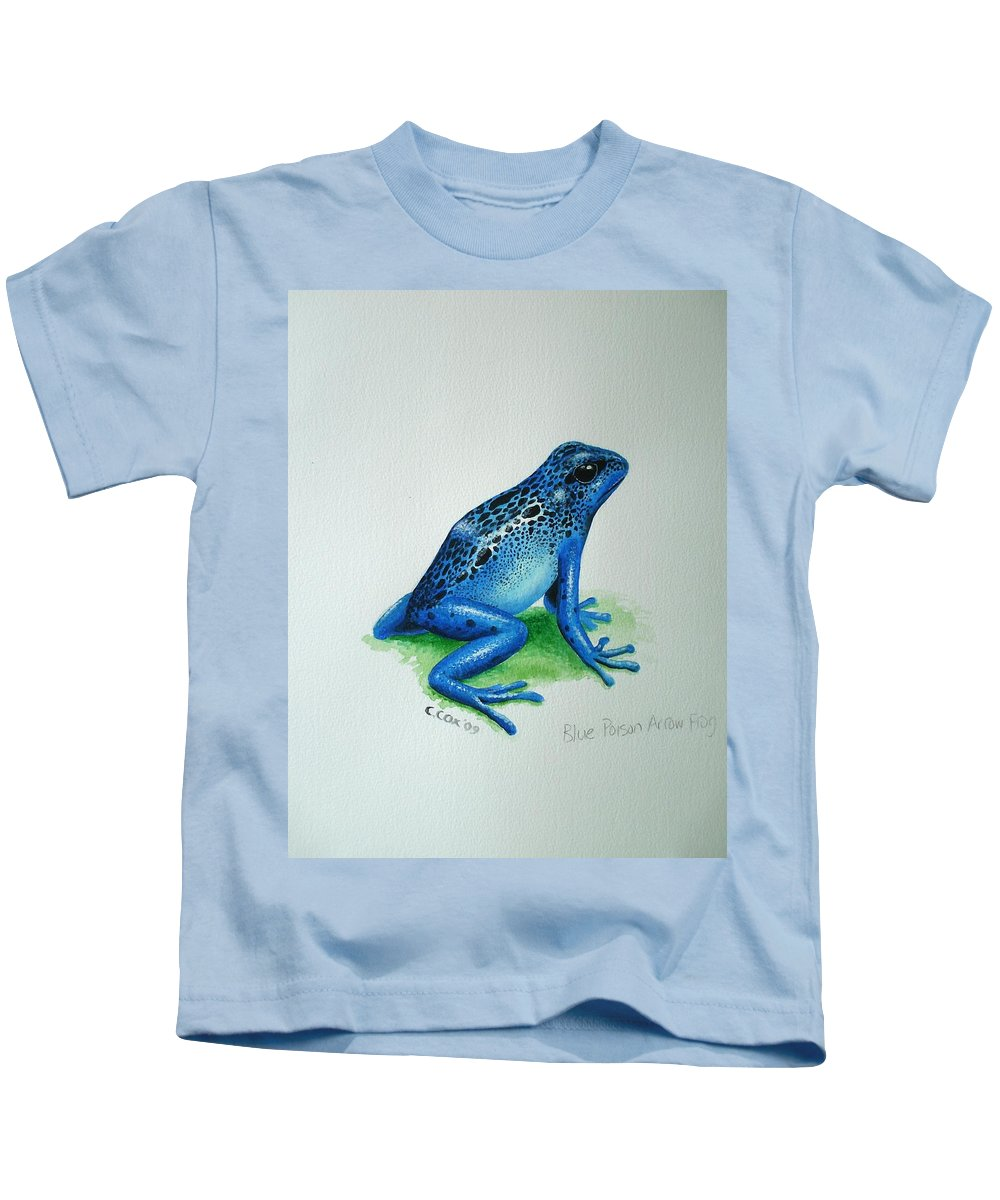 Poison Arrow Frog Kids T-Shirt featuring the painting Blue Poison Arrow Frog by Christopher Cox