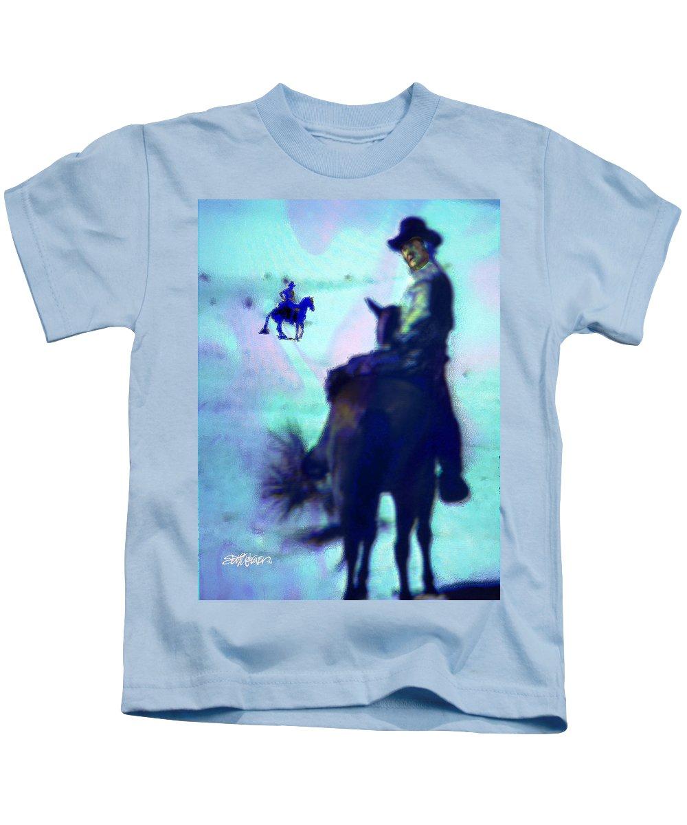 Blue Kids T-Shirt featuring the digital art Blue Riders by Seth Weaver