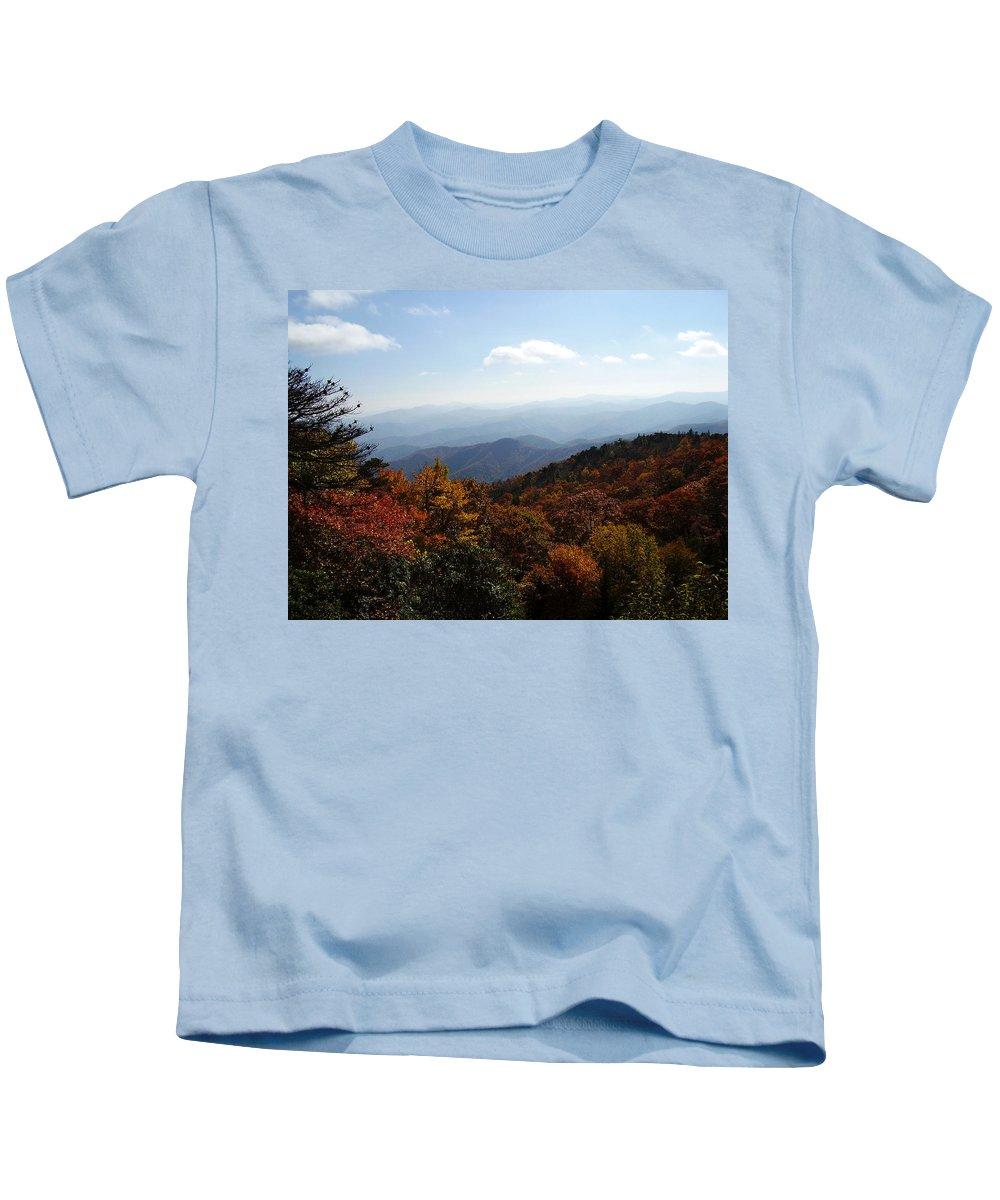 Blue Ridge Mountains Kids T-Shirt featuring the photograph Blue Ridge Mountains by Flavia Westerwelle