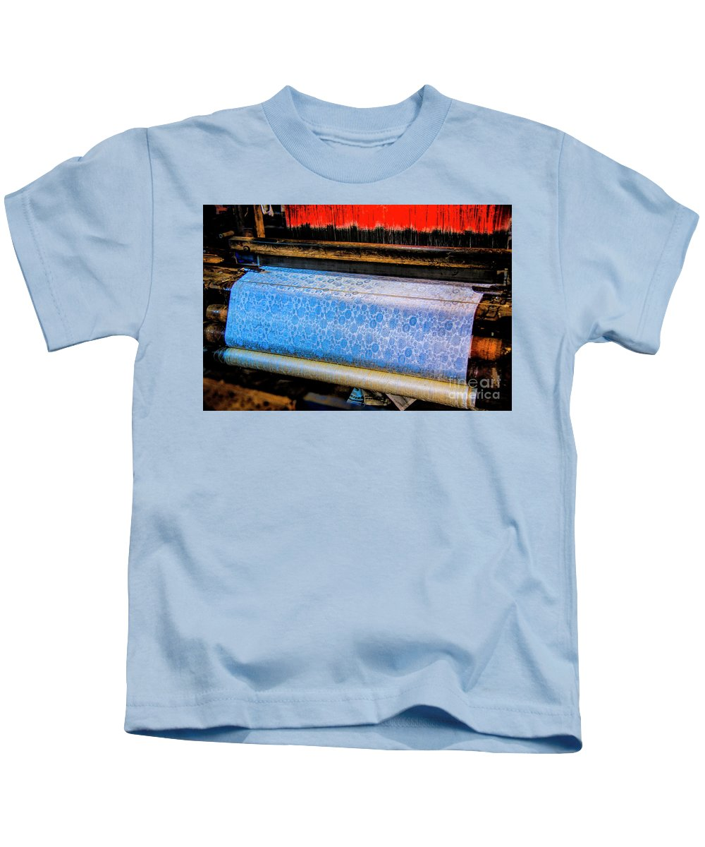Vietnam Silk Productions Silk Machines Silk Weavers Kids T-Shirt featuring the photograph Blue Silk Machine by Rick Bragan