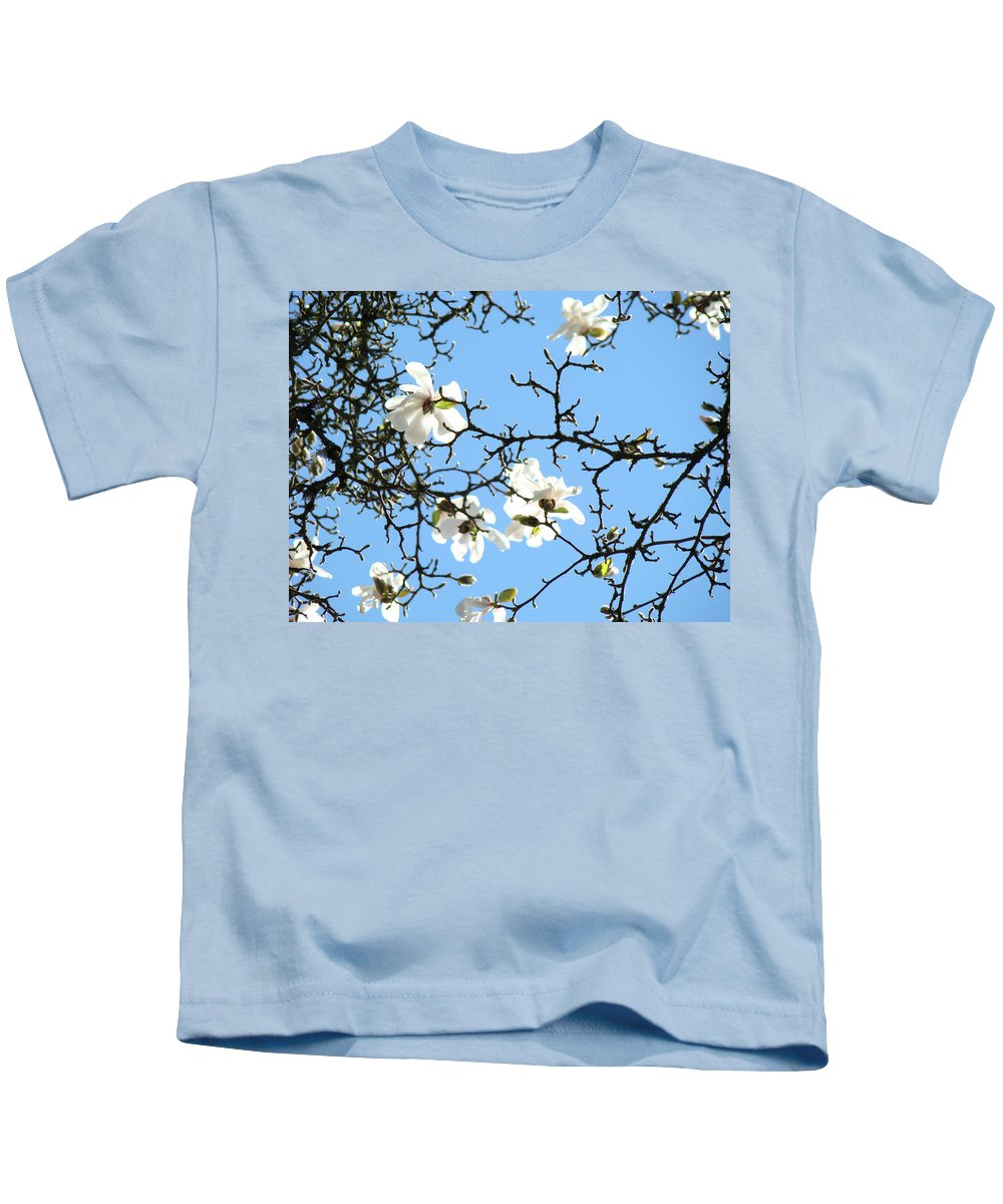 Magnolia Kids T-Shirt featuring the photograph Blue Sky Floral Art White Magnolia Tree by Baslee Troutman