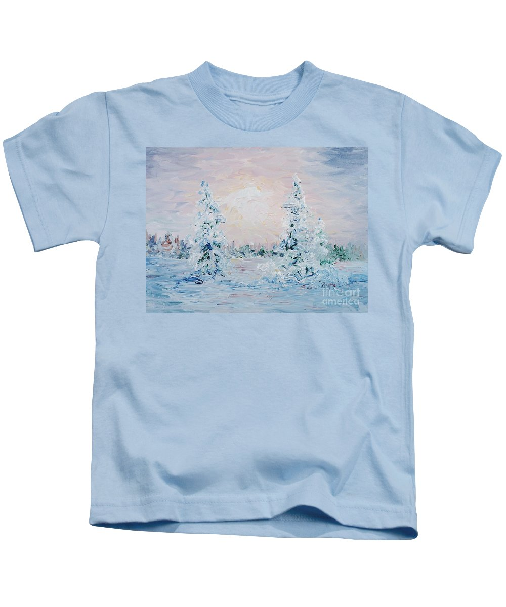 Landscape Kids T-Shirt featuring the painting Blue Winter by Nadine Rippelmeyer