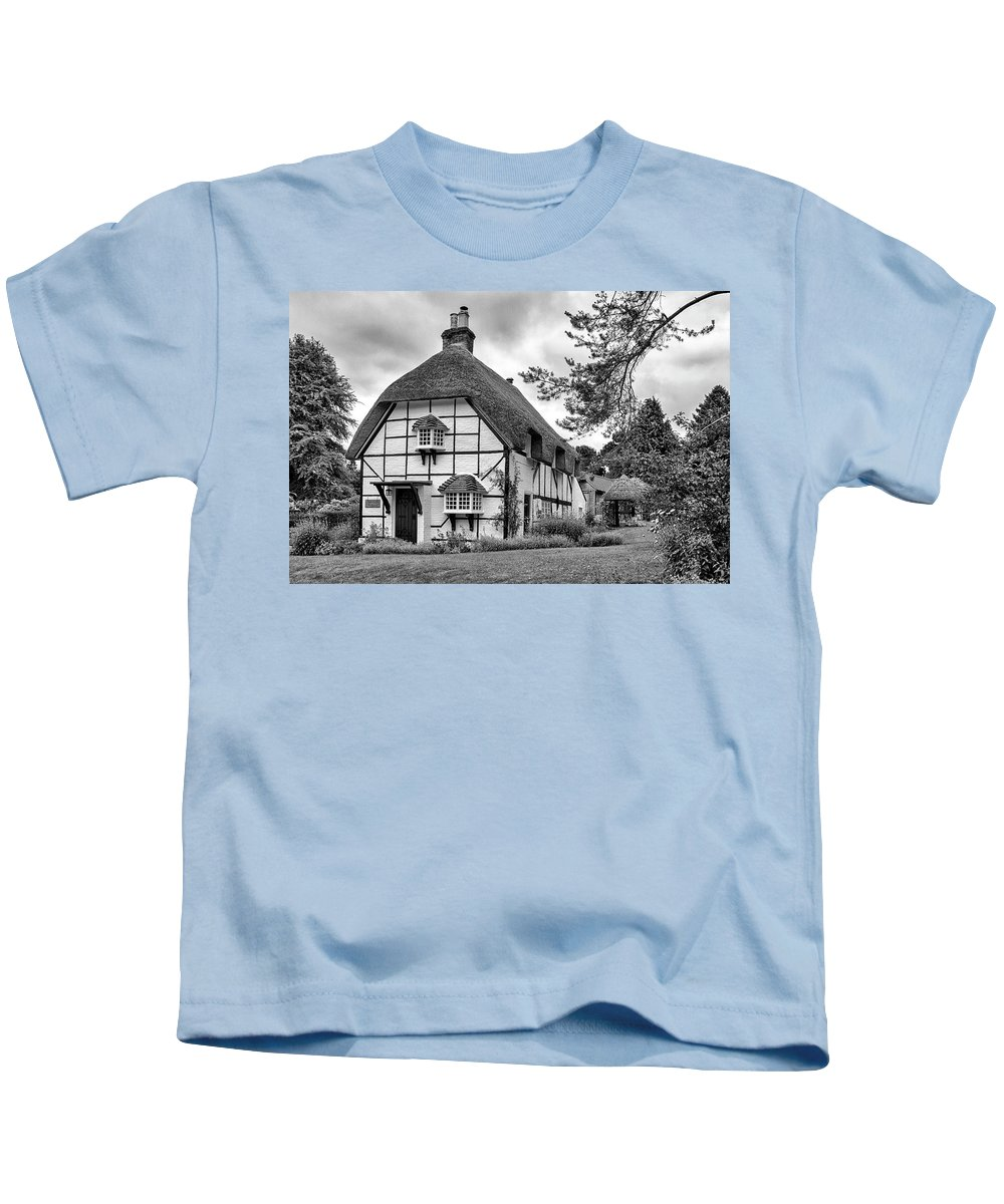 Cottage Kids T-Shirt featuring the photograph Bluebell Cottage Micheldever by Shirley Mitchell