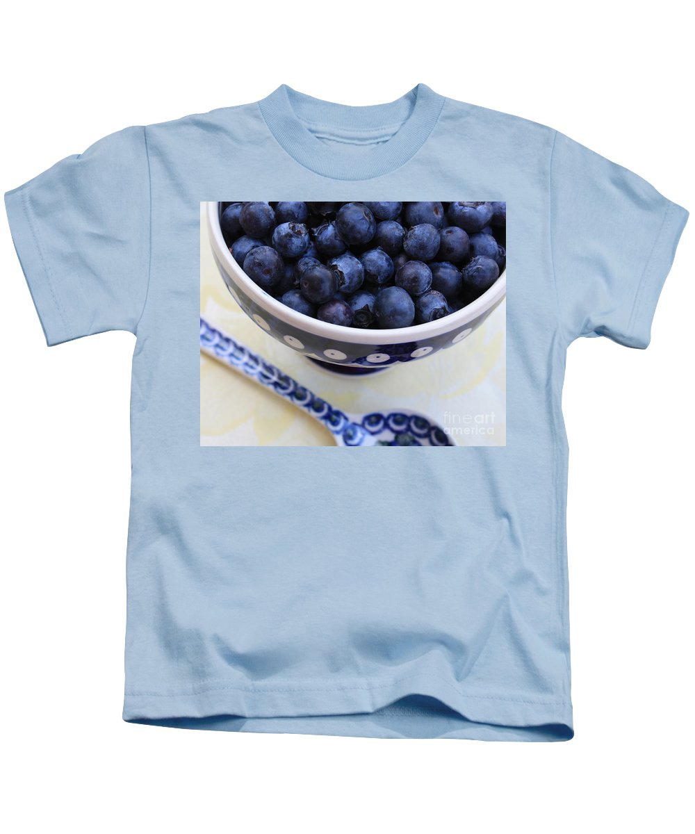 Food Kids T-Shirt featuring the photograph Blueberries With Spoon by Carol Groenen