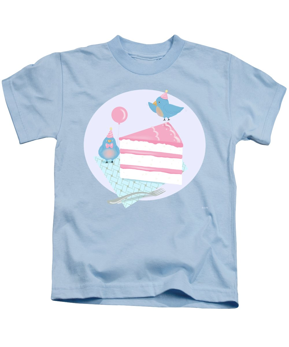 Bluebirds Kids T-Shirt featuring the painting Bluebirds Love Birthday Cake by Little Bunny Sunshine
