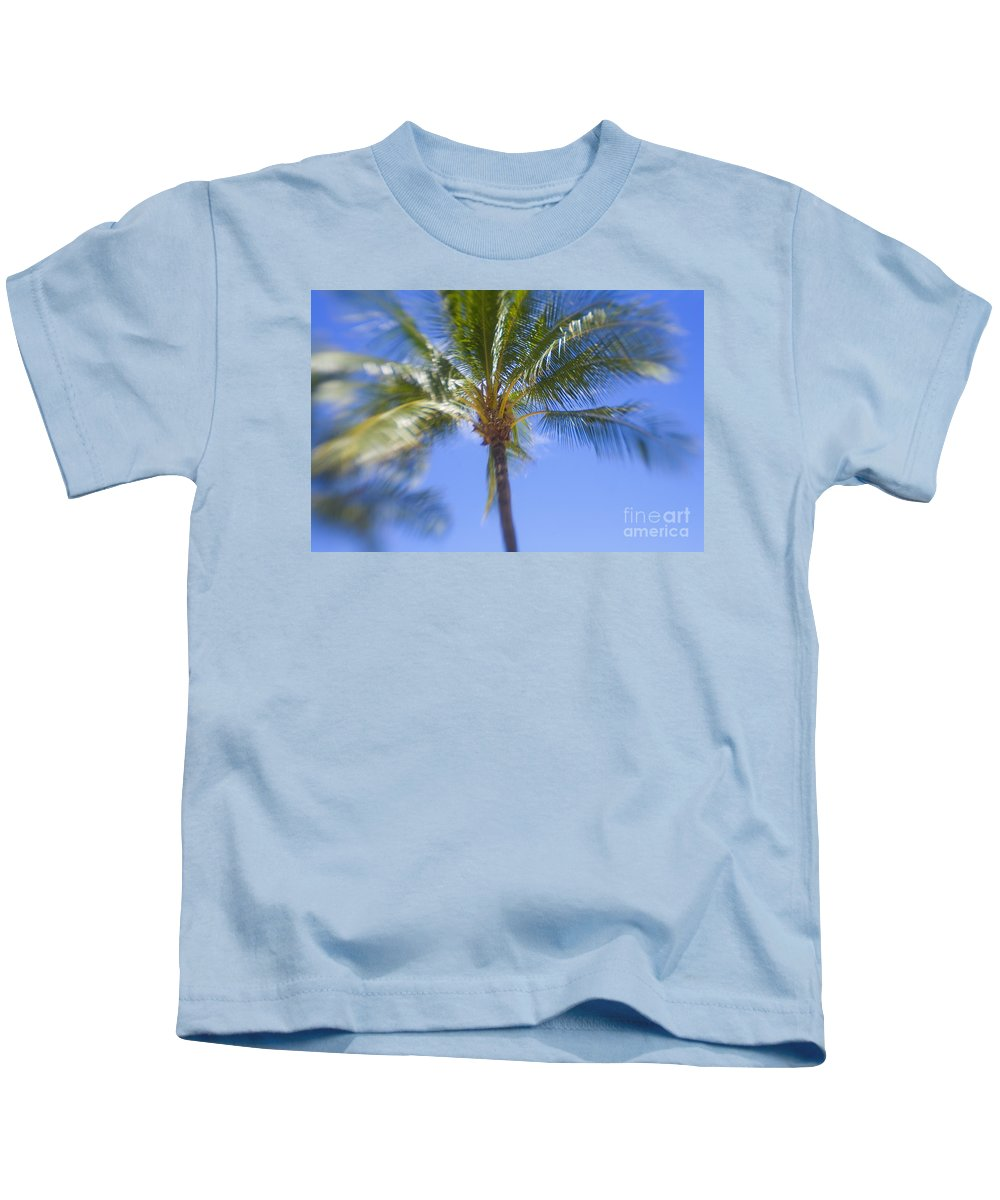 Blue Kids T-Shirt featuring the photograph Blurry Palms by Ron Dahlquist - Printscapes