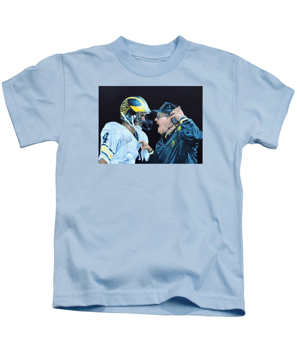 Michigan Kids T-Shirt featuring the painting BO Knows by Travis Day