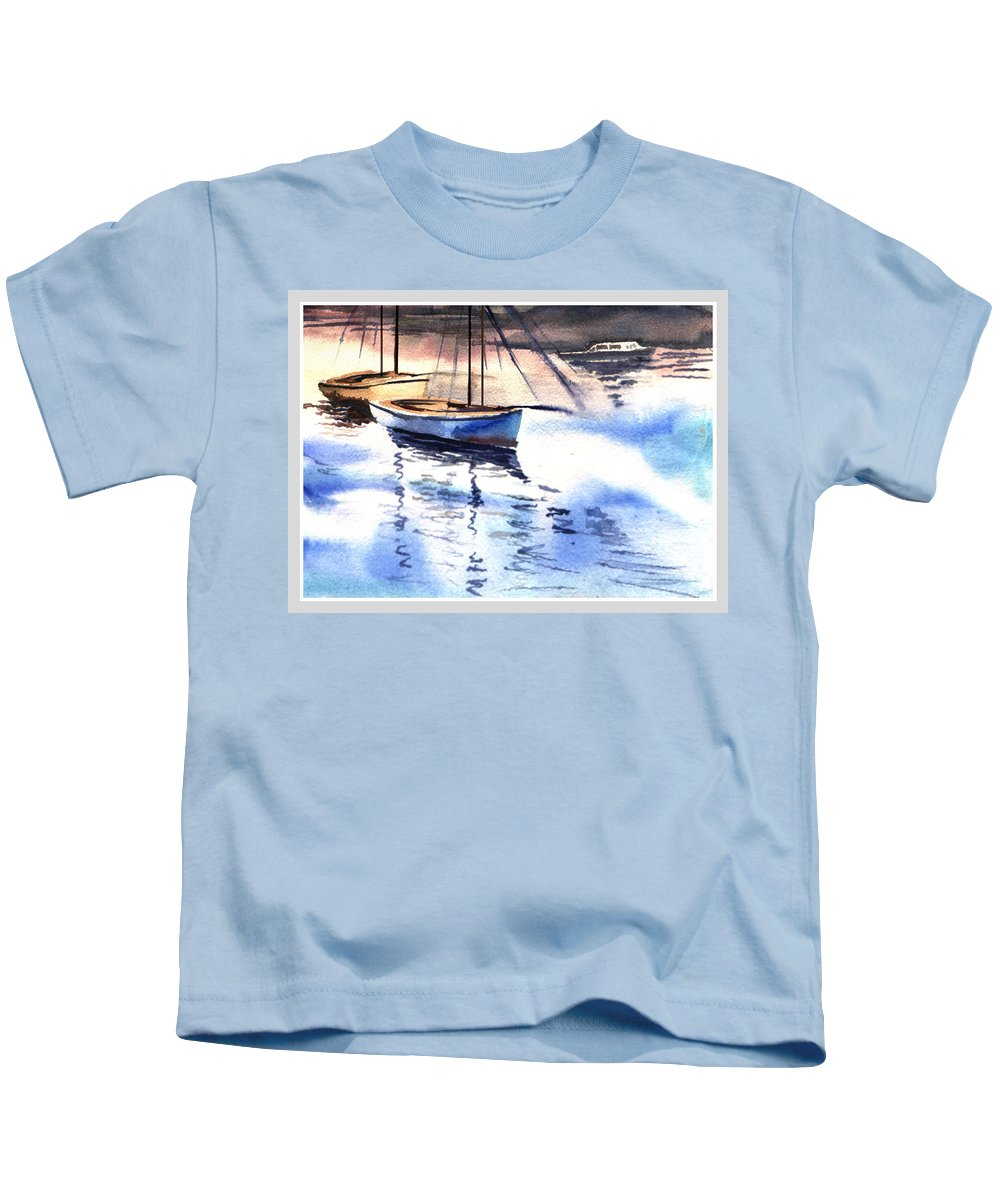 Watercolor Kids T-Shirt featuring the painting Boat And The River by Anil Nene