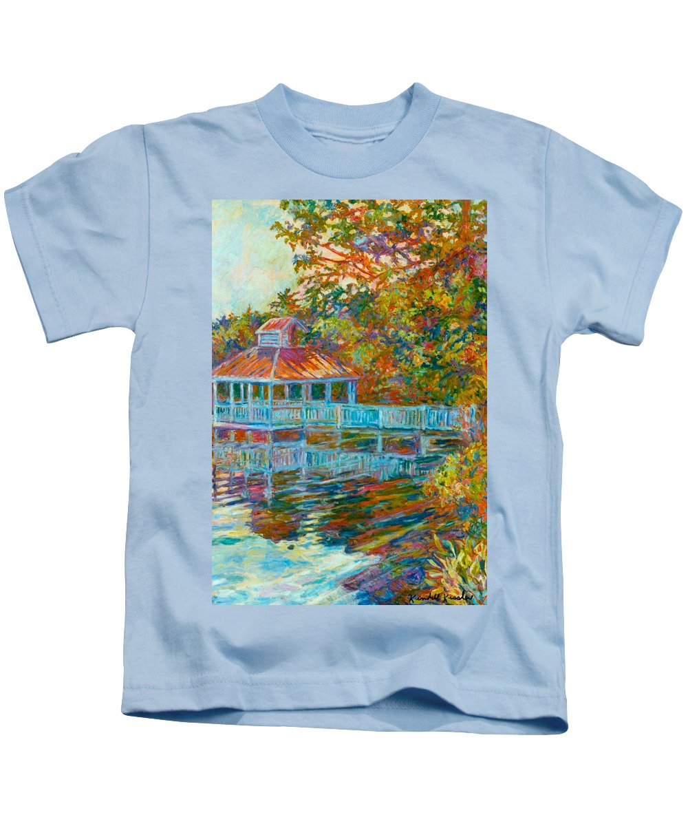 Mountain Lake Kids T-Shirt featuring the painting Boathouse At Mountain Lake by Kendall Kessler