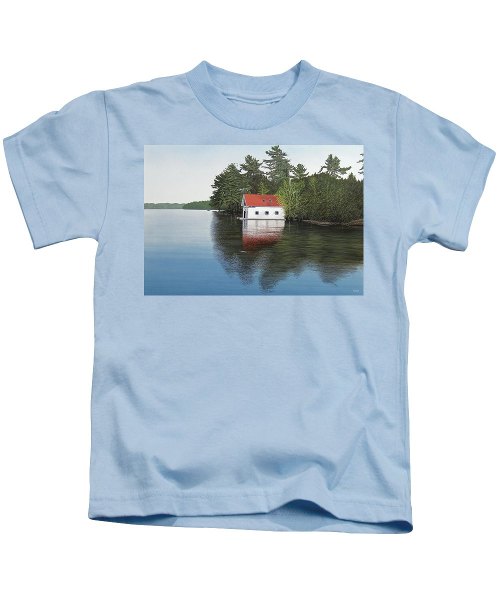 Canoe Kids T-Shirt featuring the painting Boathouse by Kenneth M Kirsch
