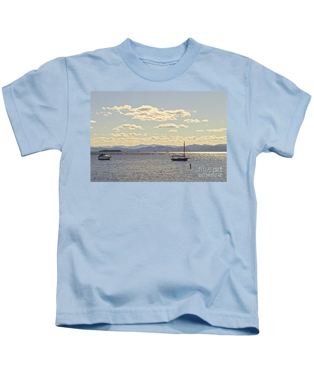 Lake Champlain Kids T-Shirt featuring the photograph Boats On Lake Champlain Vermont by Catherine Sherman