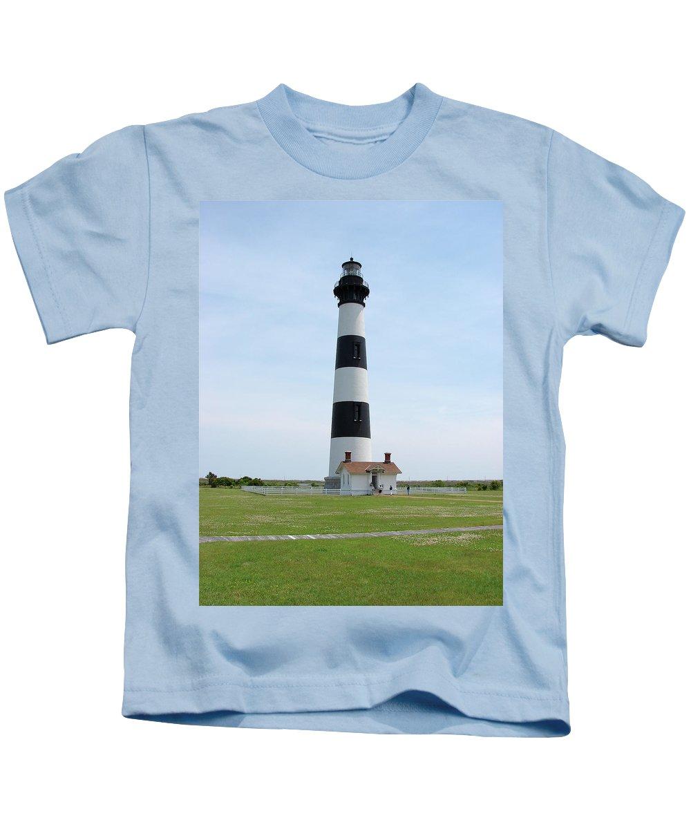 Bodie Lighthouse Kids T-Shirt featuring the photograph Bodie Lighthouse Nags Head Nc II by Brett Winn