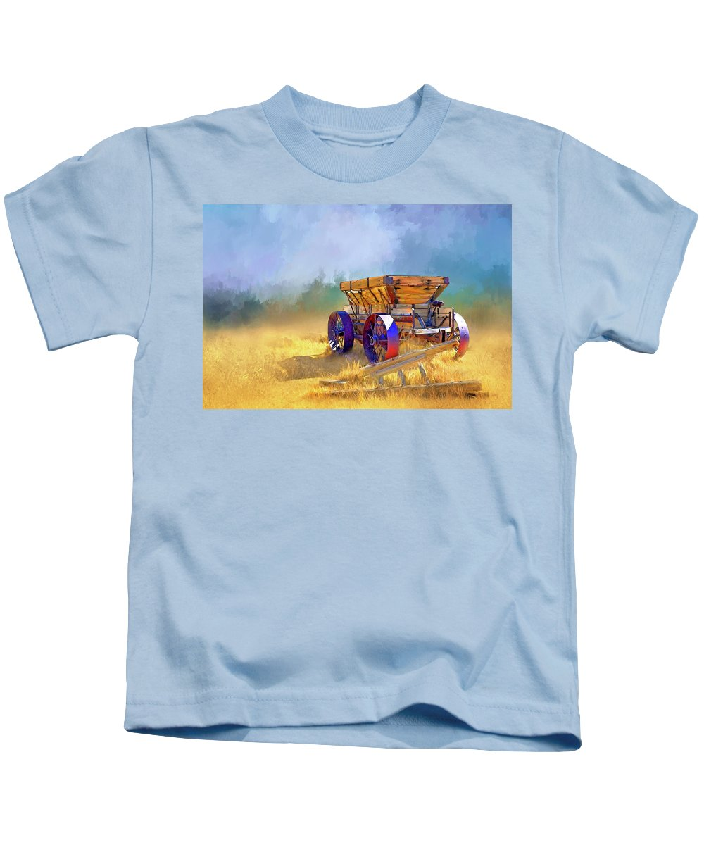 Bodie Kids T-Shirt featuring the digital art Bodie Ore Wagon Painted by Casey Heisler